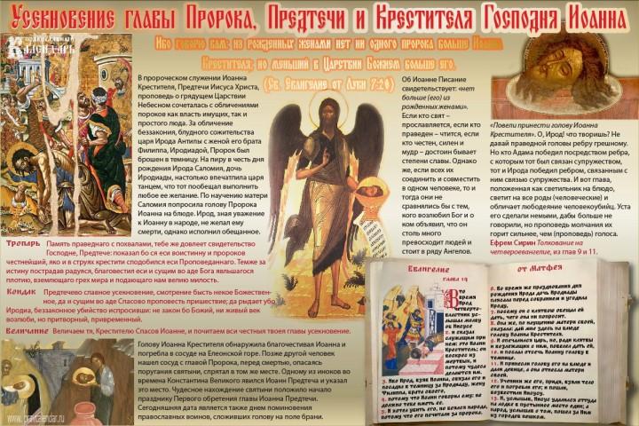 ИНФОГРАФИКА: Усекновение главы Пророка, Предтечи и Крестителя Господня Иоанна