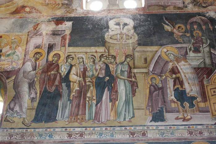 Введение во храм Пресвятой Богородицы. Фреска. Студеница ХIV век.