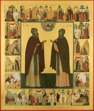 Преподобные Кирилл и Мария. Икона с житием
