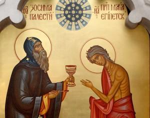 преподобная Мария Египетская и святой Зосима, икона