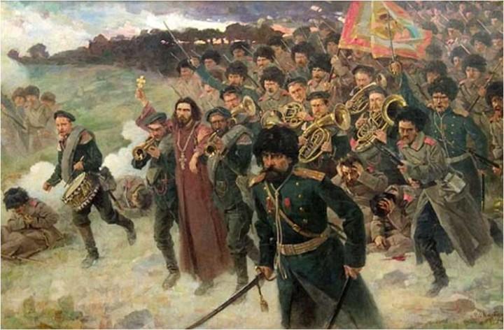 Полковой священник Стефан Щербаковский, дважды раненый, идет с крестом впереди 11-го Восточно-Сибирского стрелкового полка в бою под Тюрен-ченом.