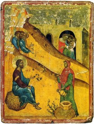 Христос и самарянка Двусторонняя икона-таблетка. Вторая четверть XV в.