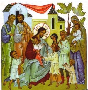 Икона Господь Иисус Христос с детьми