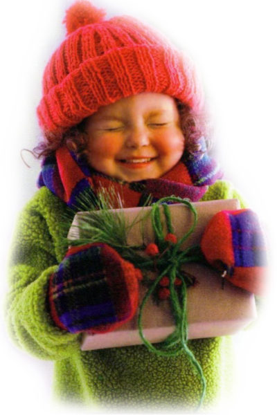 Дари радость на Рождество, девочка с подарком