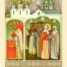 002 Мария молится в церкви за Божественной литургией