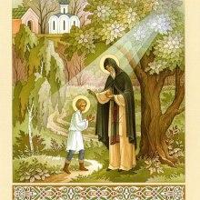 004 Старец благословляет отрока Варфоломея святой просфорой