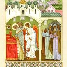 013 Анегл Господень служит Литургию вместе с преподобным Сергием