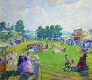 Кустодиев Борис Михайлович (1878-1927) Троицын день. Гулянье. 1917 г.