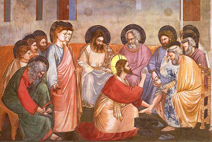 Господь умывает ноги своим ученикам