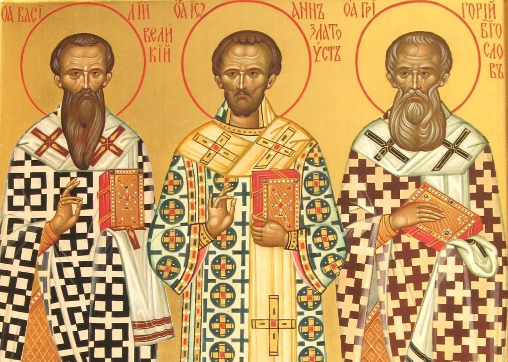 Святители Василий Великий, Григорий Богослов и Иоанн Златоуст, икона