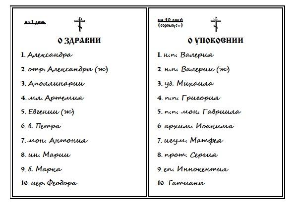 Записка церковная
