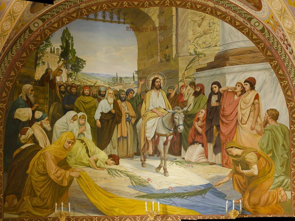 Икона, Неделя Ваий, Вербное воскресенье, Христос на ослике, вход Господень в Иерусалим