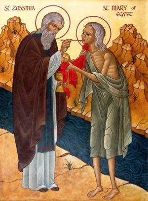 преподобная Мария Египетская и старец Зосима