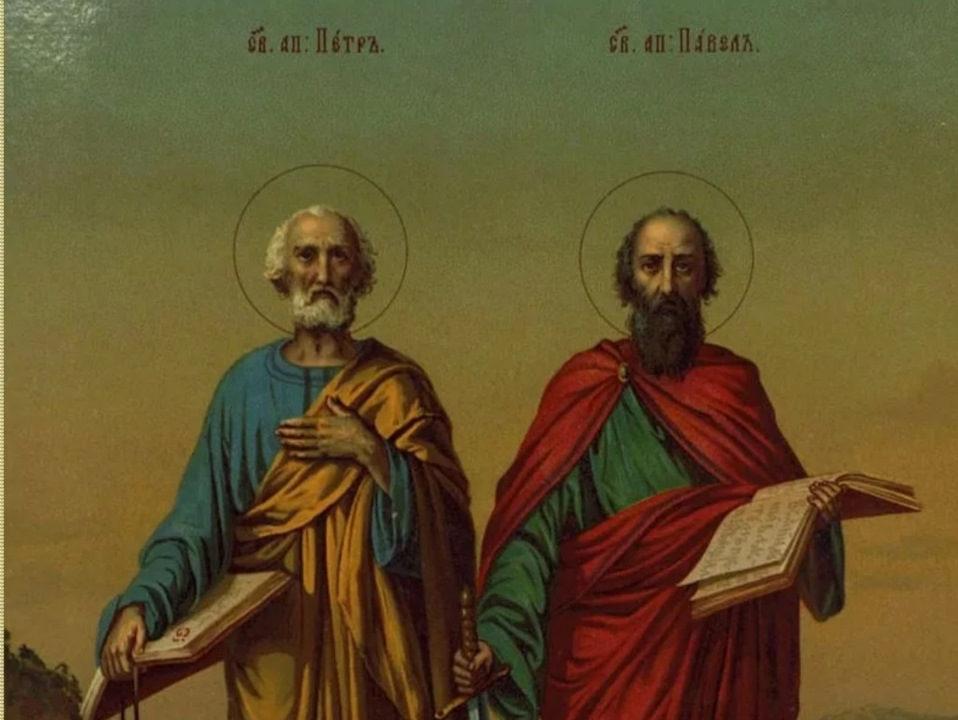 Апостолы Петр и Павел, фрагмент иконы