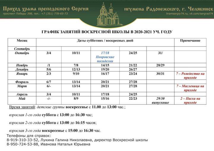 График занятий Воскресной школы на 2020-2021 уч.г