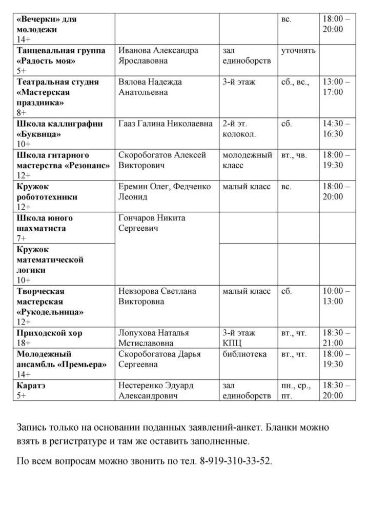 Расписание занятий Воскресной школы. ФАКУЛЬТАТИВЫ на 2020-2021 гг
