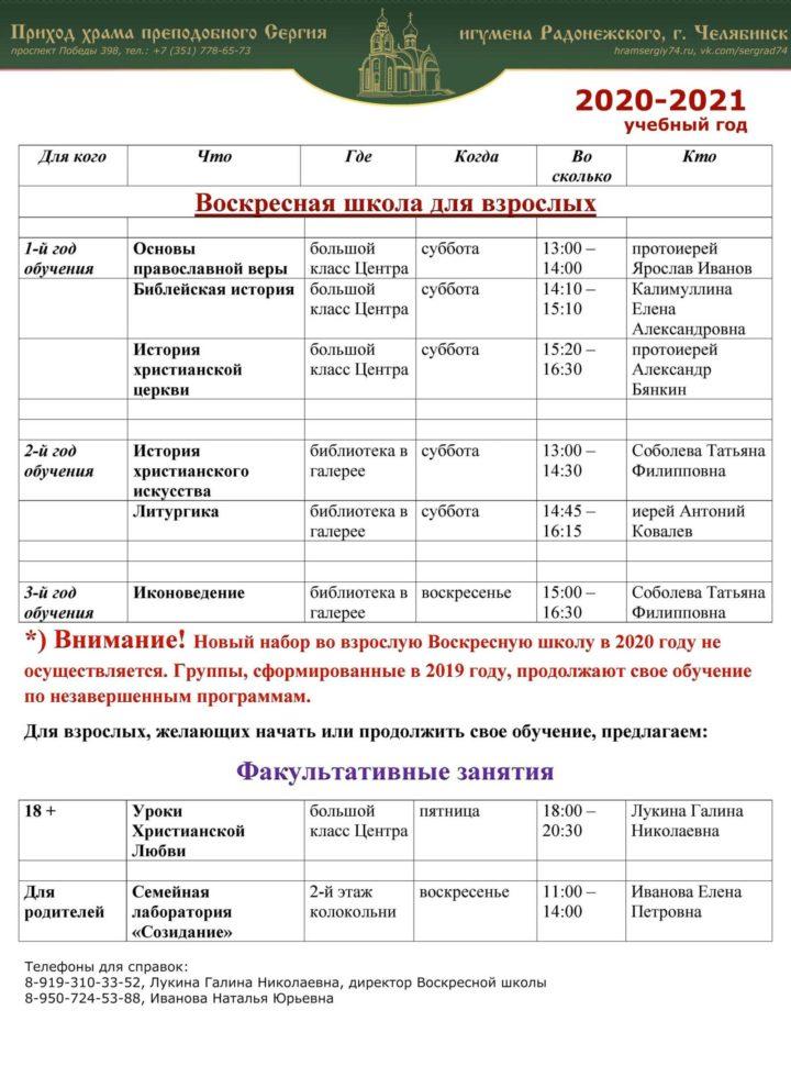 Расписание занятий Воскресной школы для взрослых на 2020-2021 гг