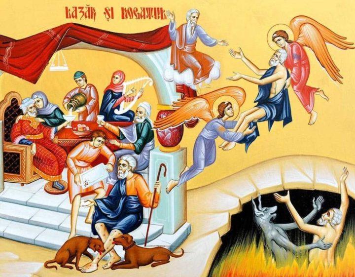 Богач и нищий Лазарь, икона