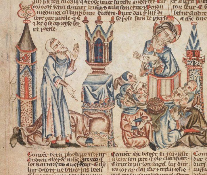 4 Притча о м. и фар. Проповедь Х. в храме. Библия 1327-1335. Брит б-ка. Лондон