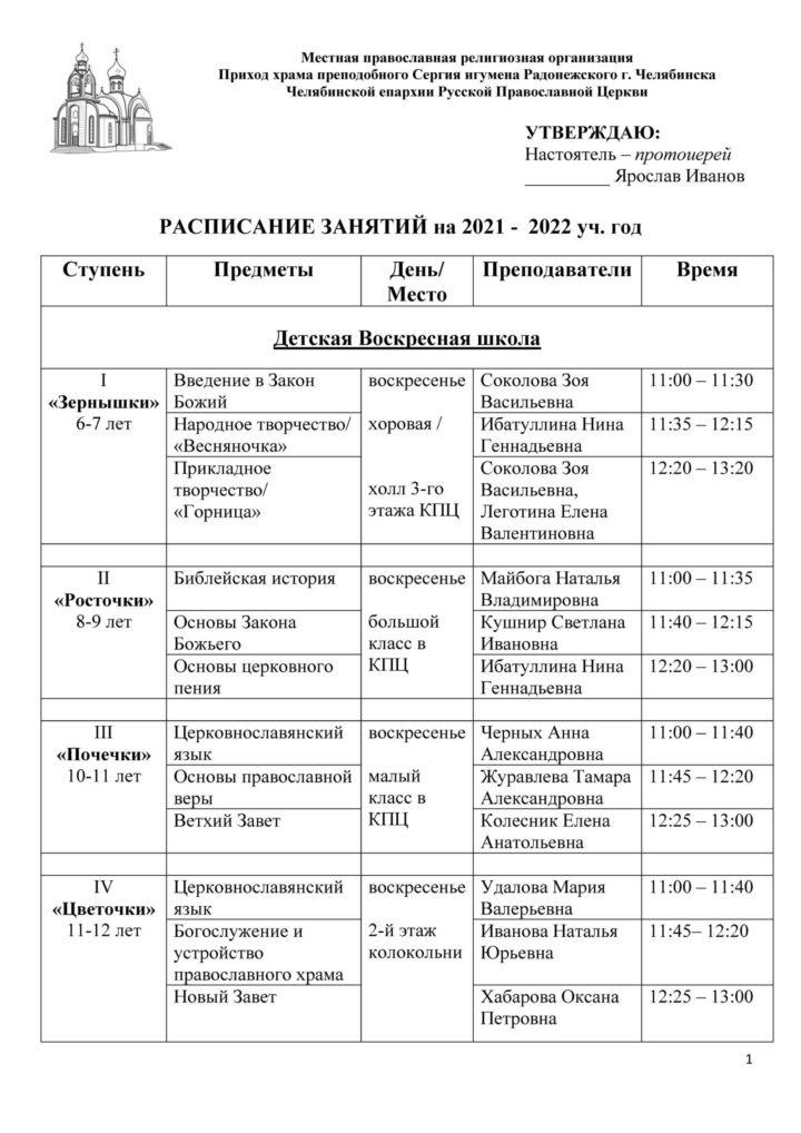 Расписание Воскресной школы для детей 2021-2022